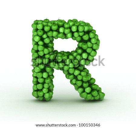 Alphabet of green apples isolated on white background, letter R