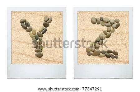 Alphabet. Picture Frames featuring characters from sea stones in the sand.Two letters.