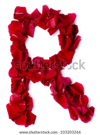 alphabet R made from red petals rose