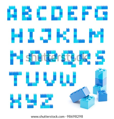 Alphabet set made of toy construction brick blocks isolated isolated on white