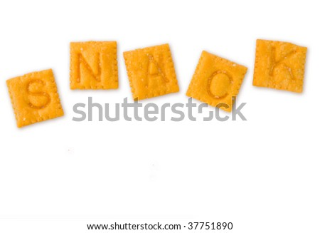 "alphabet snack crackers spell out the word ""snack"", isolated on white"