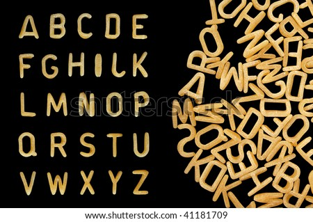 Alphabet soup pasta font. Letters made from kids food.