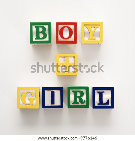 Alphabet toy building blocks spelling the words boy plus girl.