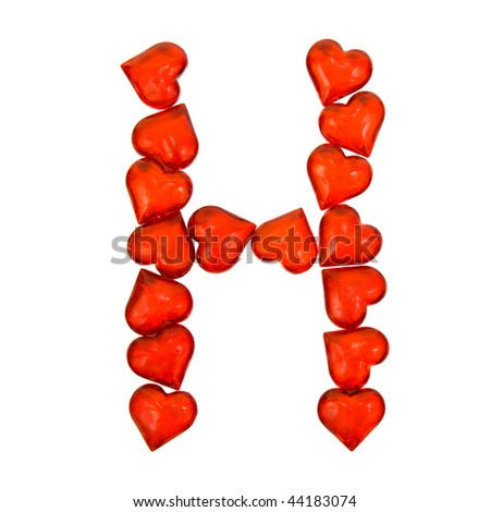 Alphabet Valentine's Day. Letter H. Isolated on white background ...
