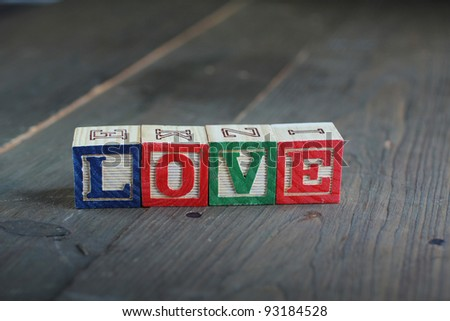 alphabet wood blocks forming the word love