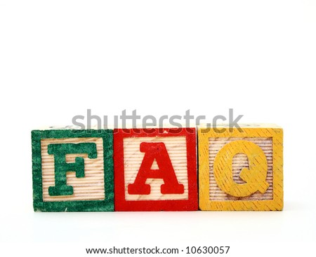 alphabet wood blocks over a white surface forming the word faq