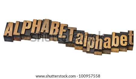 alphabet word in upper and lower case - isolated text in vintage letterpress wood type