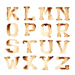 Alphabet write by coffee antique style