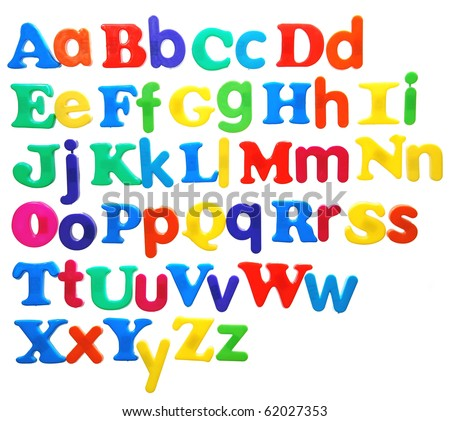 alphabet written in bright plastic letters, featuring both uppercase and lowercase, isolated on white