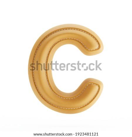 Alphabet yellow leather skin texture capital letter C. 3d rendering illustration Stock fotó ©