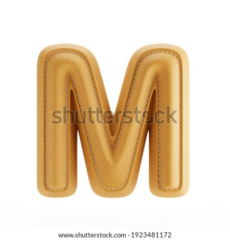 Alphabet yellow leather skin texture capital letter M. 3d rendering illustration Stock fotó ©