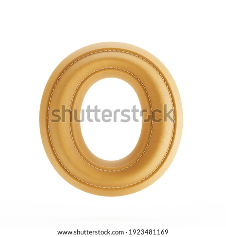 Alphabet yellow leather skin texture capital letter O. 3d rendering illustration Stock fotó ©