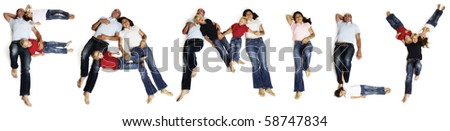"Alphabetic characters of word ""FAMILY"" created with family members lying on floor on white background."