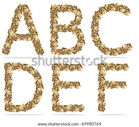 alphabets paper ball. isolated on a white background