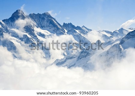 Alpine Alps mountain landscape at Jungfraujoch, Top of Europe Switzerland