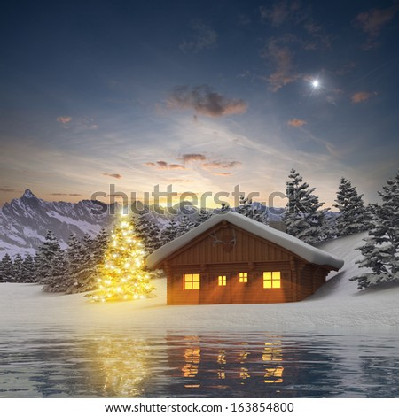 Alpine Cabin and illuminated Christmas Tree