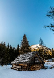 alpine cabin in winter on lake etrachsee in styria, austria