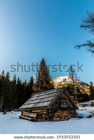 alpine cabin in winter on lake etrachsee in styria, austria Stockfoto ©