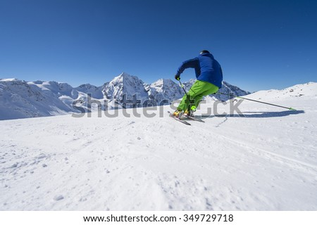 alpine downhill skiing in solda ortles Italy