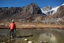 Alpine Lake in Sikkim, Goechala Trek in Sikkim, Hiking in Mountains, Crossing the Lake, Travel Inspiration