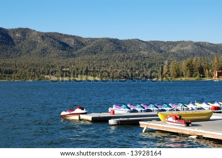 Alpine lake marina; Big Bear Lake; San Bernardino Mountains, California