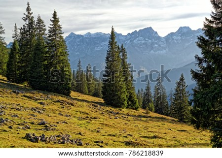Alpine landscape and peaks of the bavarian and tyrolean Karwendel mountains in late autumn, Alps, Europe - Shutterstock ID 786218839