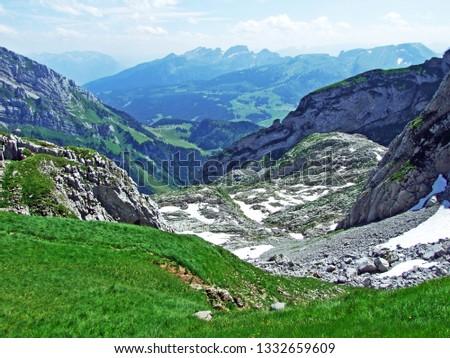 Alpine landscape and rocky peaks of Alpstein mountain range - Cantons of St. Gallen and Appenzell Innerrhoden, Switzerland #1332659609