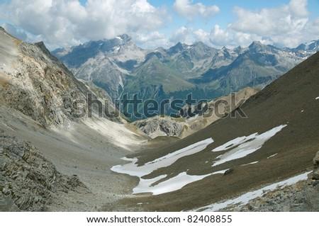Alpine landscape in Engadine, Switzerland - stock photo