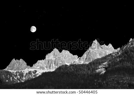 Alpine mountain peaks near Chamonix. The Mont Blanc massif. France.