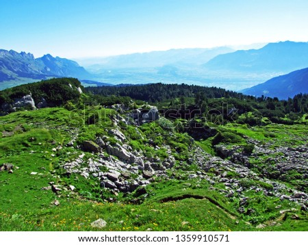 Alpine pastures and meadows on the slopes of the Alviergruppe mountain range - Canton of St. Gallen, Switzerland #1359910571