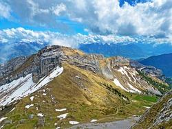 Alpine peaks of Matthorn and Musflue in the Swiss mountain range of Pilatus and in the Emmental Alps, Alpnach - Canton of Obwalden, Switzerland (Kanton Obwald, Schweiz)