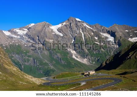 Alpine road in the Alps mountains on the Hochalpenstrasse, Hohe Tauern National Park, Austria