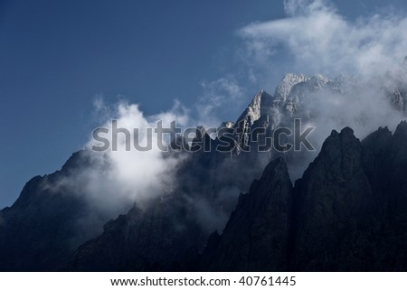 Alpine view of mountain tops in Restonica Valley