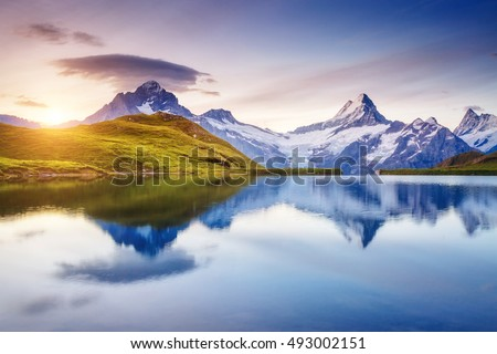 Alpine view of the Mt. Schreckhorn and Wetterhorn. Popular tourist attraction. Dramatic and picturesque scene. Location place Bachalpsee in Swiss alps, Grindelwald valley, Europe. Beauty world. #493002151