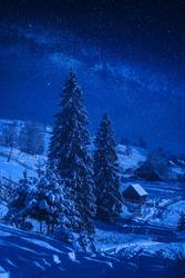 Alpine village covered with snow in a moonlight. Fairytale carpathian winter night. Ukraine, Europe.
