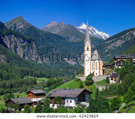 Alpine village Heiligenblut at the foot of the mountain Glossglokner. Austria