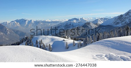 alpine winter landscape, snow covered skiing area upper bavaria
