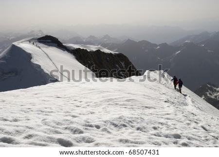 Alpinists near the summit