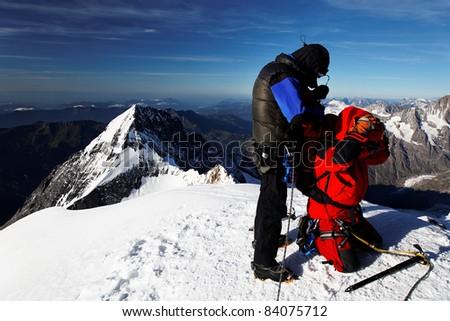 Alpinists on Monch Peak (4107m), Berner Oberland, Switzerland