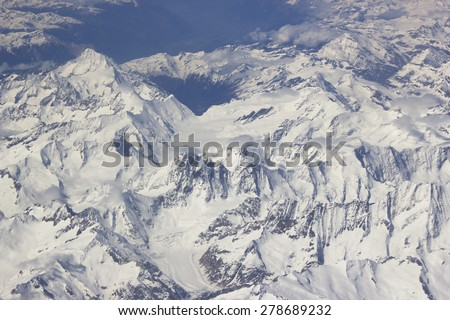 Stock Photo Alps - aerial view from window of airplane