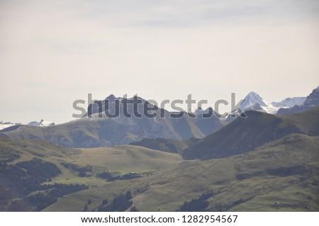 Alps alpine meadows alpine sky mountains summer landscape #1282954567