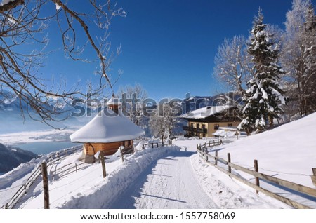 Alps. Forest in the Alps. Snow. Snow in the Alps. Houses in the Alps. Houses. #1557758069