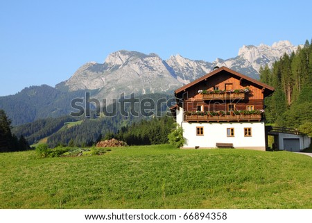 Alps in Austria. Dachstein mountains - Annaberg im Lammertal, alpine town.