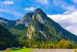 Alps mountains covered with forest, Schoenau am Koenigssee, Konigsee, Berchtesgaden National Park, Bavaria, Germany.