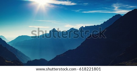 Alps mountains silhouettes summer panorama