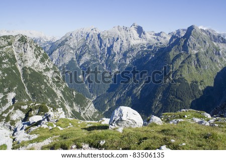 Alps mountains tranquil summer view (Slovenia)