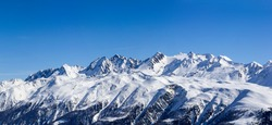 Alps range with Baettlihorn, breithorn, bortelhorn, helsenhorn, monte Cervandone, gross schinhorn, milibach, Switzerland. Viewed from Eggishorn in the Winter (large stitched file)