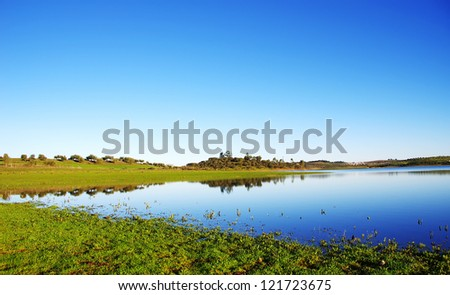 Alqueva lake near Amieira village - stock photo
