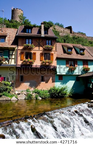 Alsace Breathtaking scene of Kayserber village, France