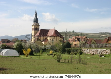 Alsace, French, view of the church of Ingersheim
